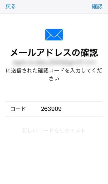 メールに記載されていた番号を入力し確認をタップ