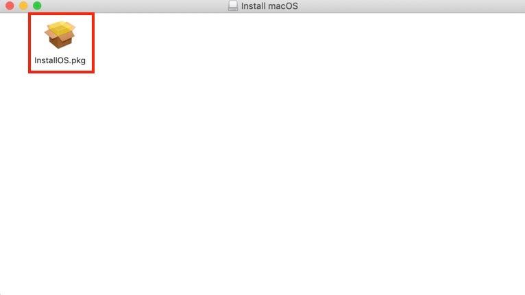 InstallOS.pkgをダブルクリックして開く
