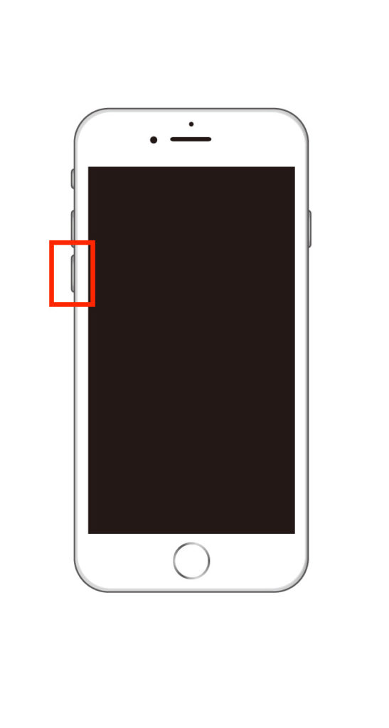 iPhone7で音量を下げるボタンを押している